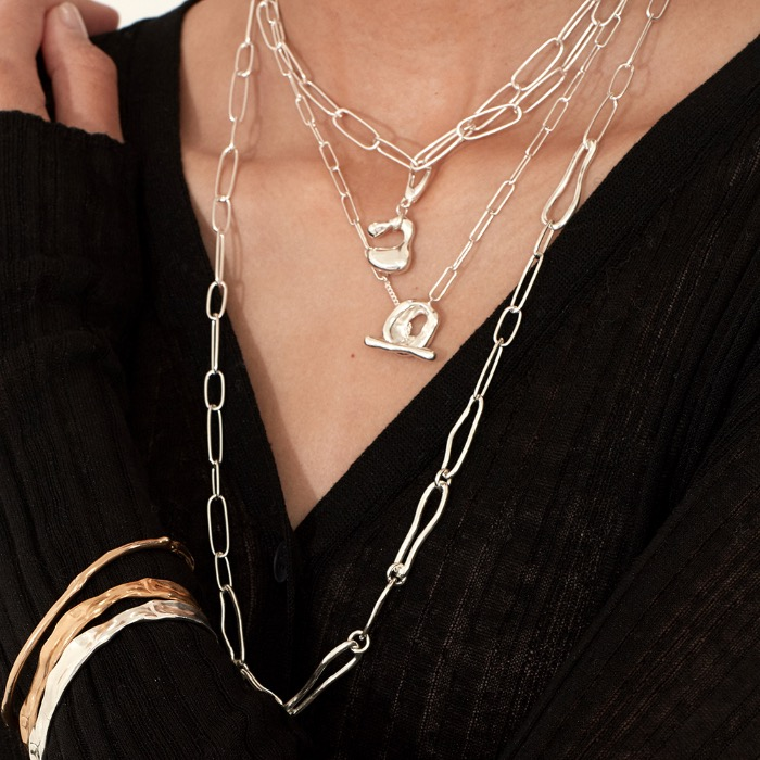 Chain connect Necklace (Silver, Gold)